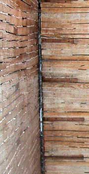 Wood lath - typical in historic homes.  Photo by Avalanche Plastering